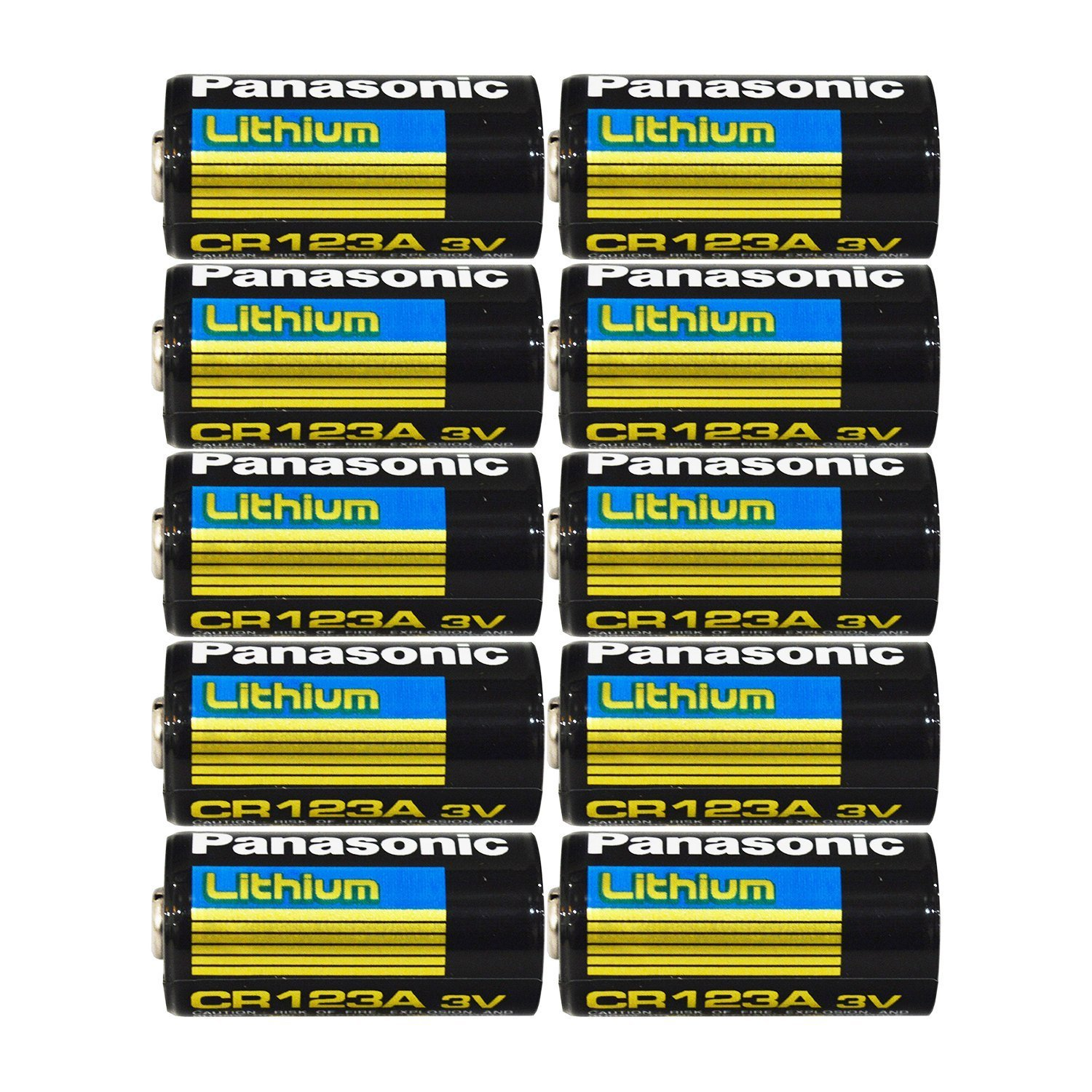 "Panasonic CR123A Lithium 3V Photo Lithium Batteries , 0.67"" Dia x 1.36"" H (17.0 mm x 34.5 mm) , black, Gold, Blue (Pack of 10)"