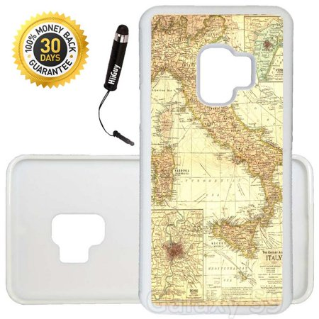 Italian Runner - Custom Galaxy S9 Case (Vintage Map of Italy) Edge-to-Edge Rubber White Cover Ultra Slim | Lightweight | Includes Stylus Pen by Innosub
