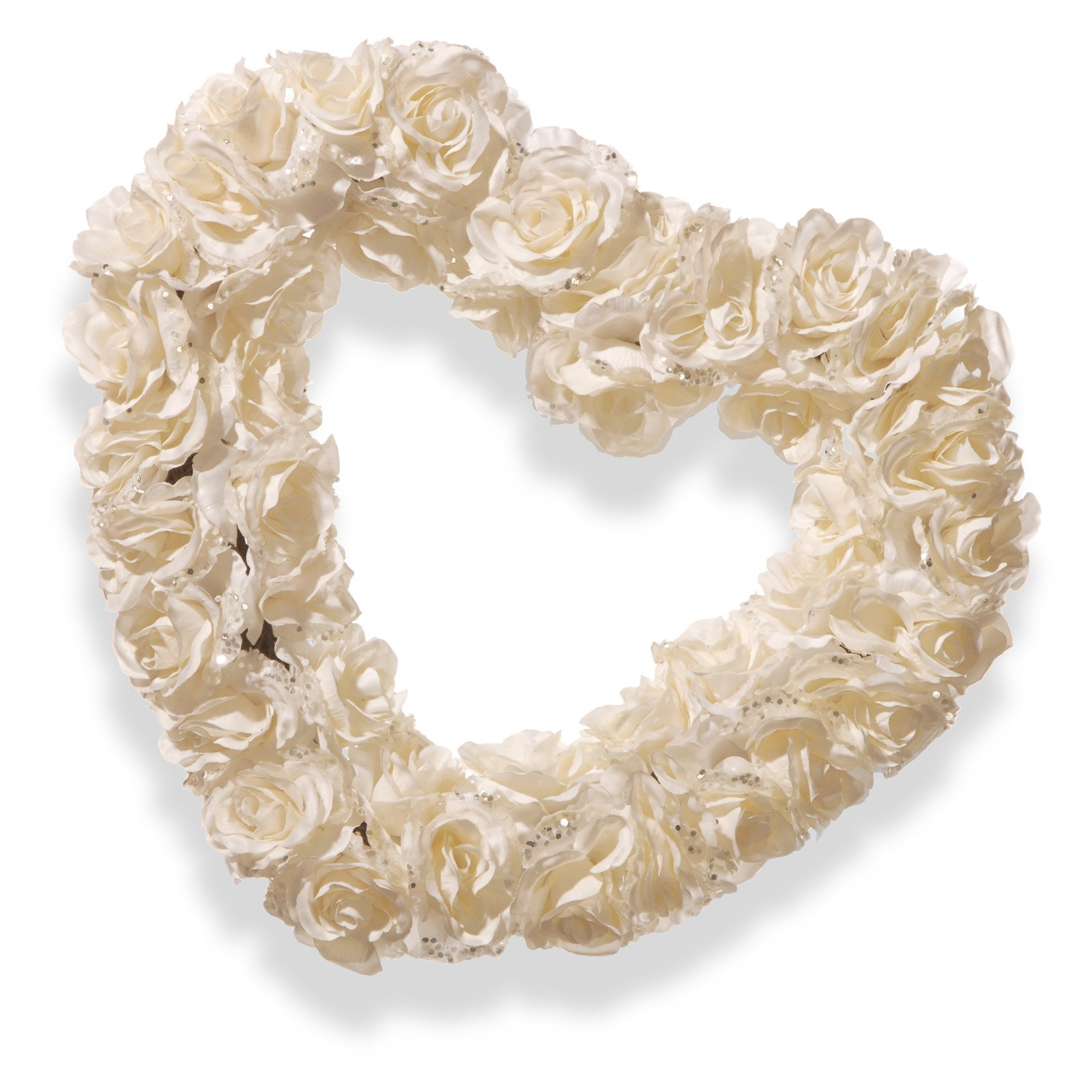 "17"" White Rose Heart Wreath"
