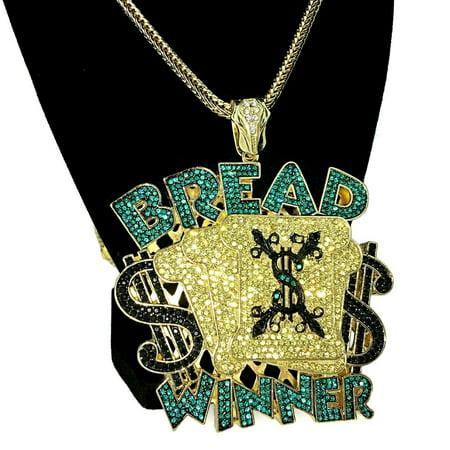 Huge Bread Winner Bling Pendant Chain Custom Style Cash Money Charm Gold Plated Franco Hip Hop Necklace 36
