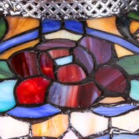 """River of Goods Victorian Tiffany Style Stained Glass 27.5"""" Double Lit Table Lamp"""