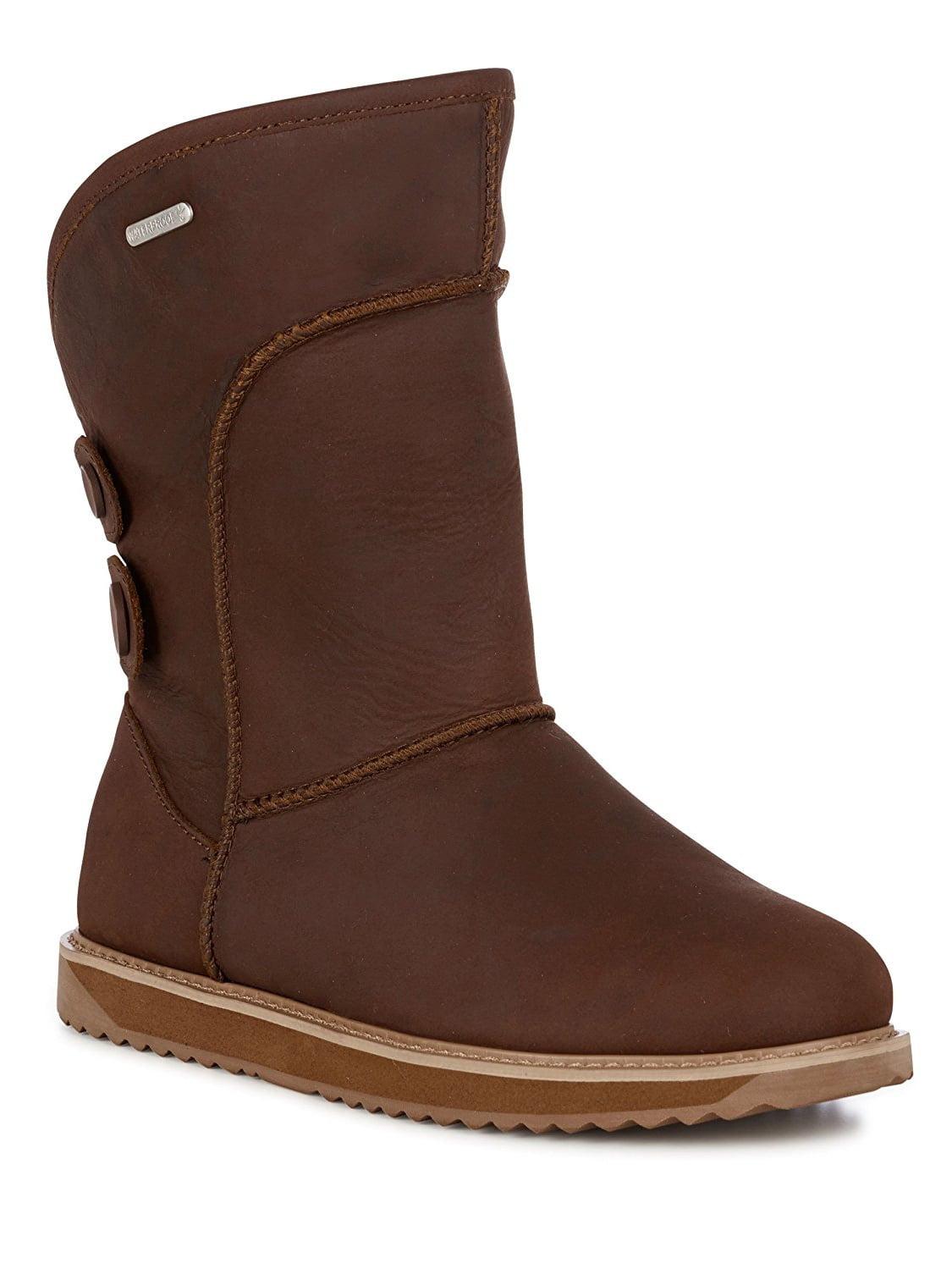EMU Australia Charlotte Leather Womens Waterproof Sheepskin Boots in Oak Size 10