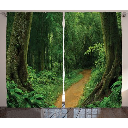 Tropical Decor Curtains 2 Panels Set, Tropical Jungle Forest With Trees Pathway Foliage Wilderness Nature Landscape Picture, Living Room Bedroom Accessories, By Ambesonne (Tropical Foliage)