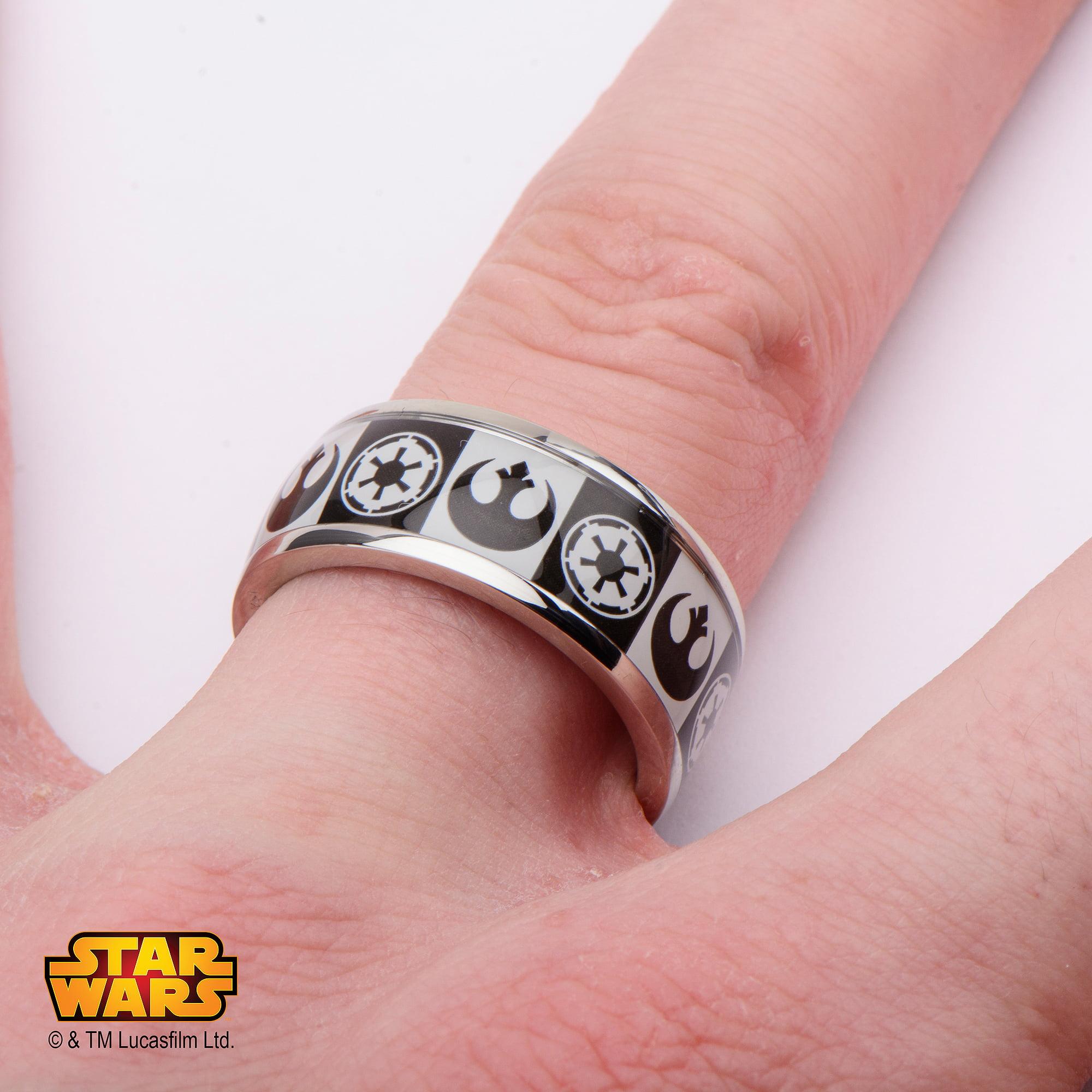 Disney Stainless Steel Star Wars Empire/Rebel Alliance Logo Ring ...