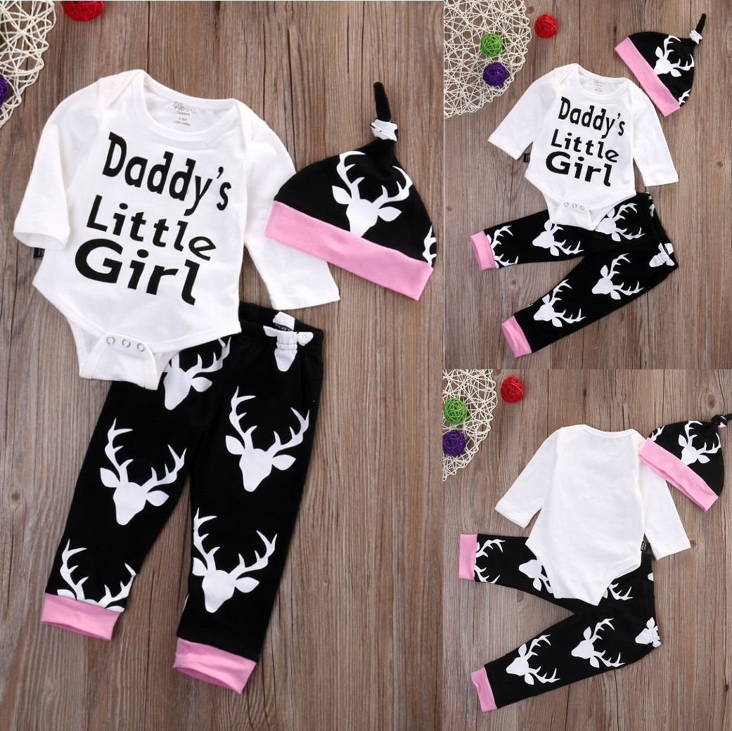 Newborn Baby Girls Little Girl Tops Romper +Long Pants Hat Outfits Set Clothes