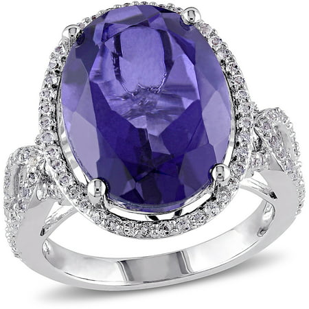 8-7/8 Carat T.G.W. Tanzanite, Quartz and White Topaz Sterling Silver Halo Cocktail Ring
