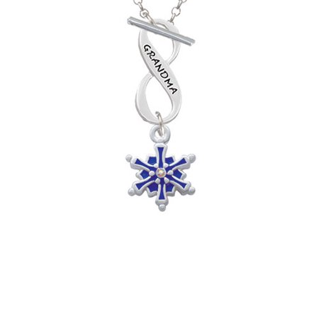 Blue Crystal Snowflake - 3-D Blue Snowflake with AB Crystal Grandma Infinity Toggle Chain Necklace