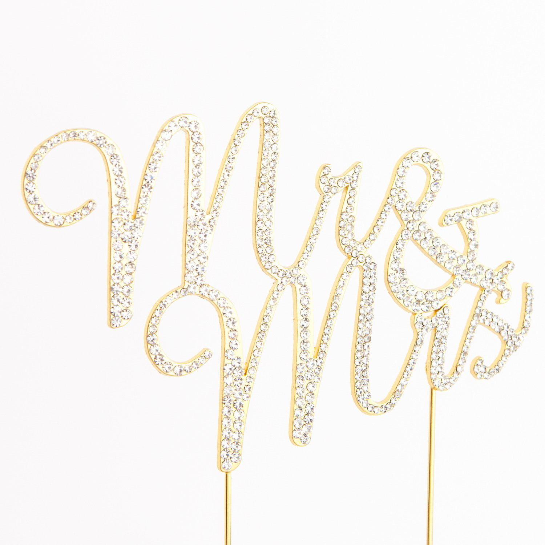 Mr and Mrs Wedding Cake Topper Gold Rhinestone Monogram Decoration ...
