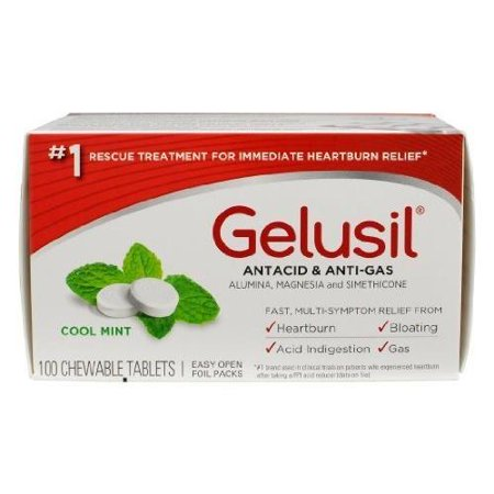 6 Pack Gelusil Antacid & Anti-Gas Cool Mint Chewable Tablets 100 Tabs Each