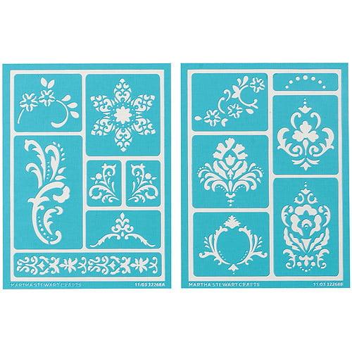 "Martha Stewart Adhesive Stencils 2 Sheets/pkg, Scrolls 8-3/4""x7-3/4"", 13 Designs"