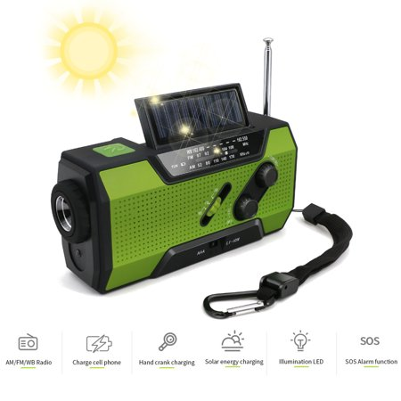 Solar Hand Crank Radio AM/FM/WB/NOAA Weather Radio LED Torch with 2000mAh Bright LED Flashlight and Reading Lamp for Household Emergency and Outdoor Survival