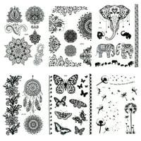 """6 Sheet Henna Tattoo Stickers Black Lace Mehendi Temporary Tattoos for Adventurous Women Teens & Girls Metallic Tattooing"""