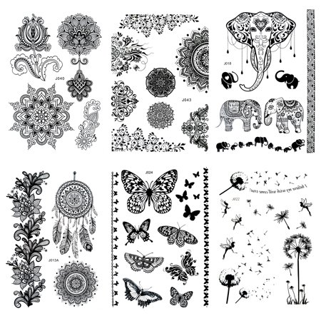 6 Sheet Henna Tattoo Stickers Black Lace Mehendi Temporary Tattoos ...