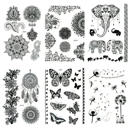 6 Sheet Henna Tattoo Stickers Black Lace Mehendi Temporary Tattoos for Adventurous Women Teens & Girls Metallic Tattooing - Wholesale Temporary Tattoos