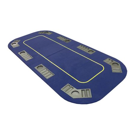 79x36-TX2-blue Texas Hold em Folding Table Top with Cup Holders - Blue (Felt Top Table)