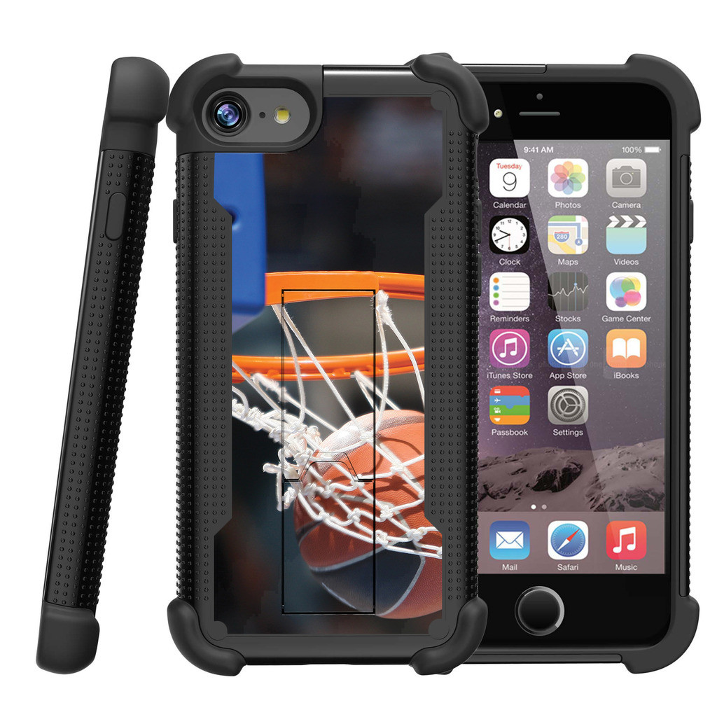 """Apple iPhone 7 4.7"""" Shockwave Armor Dual Layer Kicsktand Case - Nothing but Net"""