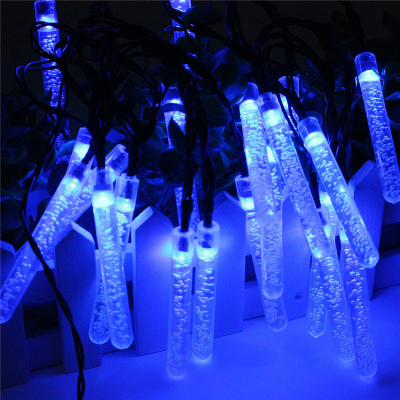 BeautyTale-20 LED Waterproof Icicle Lights, Solar String Lights ,Solar Powered Outdoor Lights for Christmas or Party Decorations (Blue )