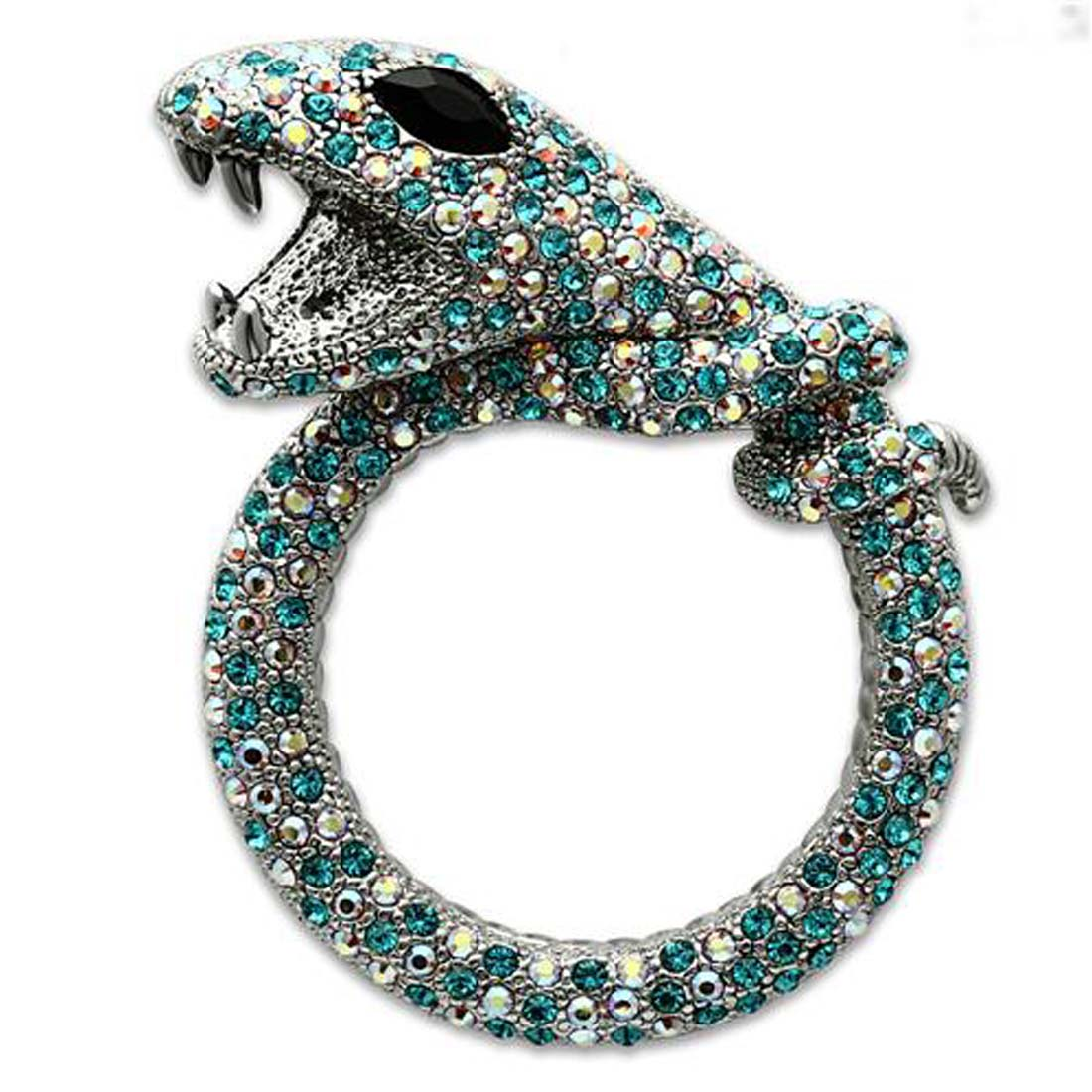 Dazzling Silver-tone Snake Pin Brooch with Multi-color Crystals by Crazy4Bling.