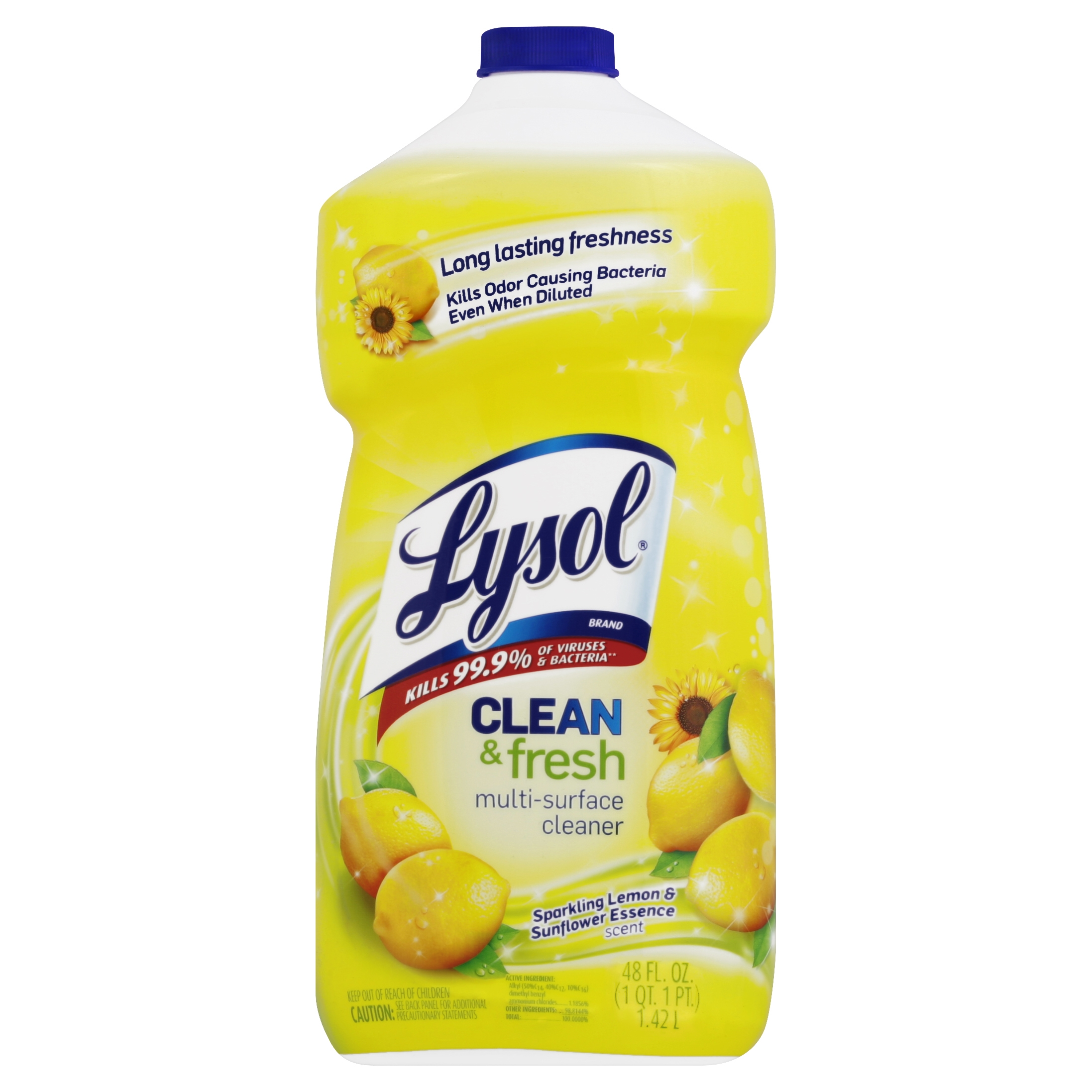 Lysol Clean and Fresh Multi-Surface Cleaner, Lemon Sunflower Scent, 48 Ounce