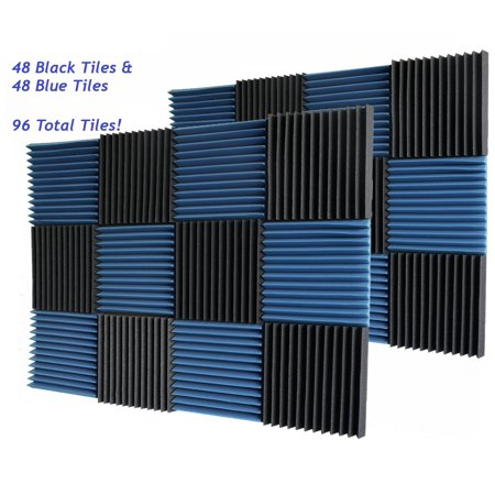 96 Black & Blue Pack Acoustic Foam Tiles Wall Record Studio Sound Proof 12 x 12 x 1 inch Panels (Cheap Sound Foam)