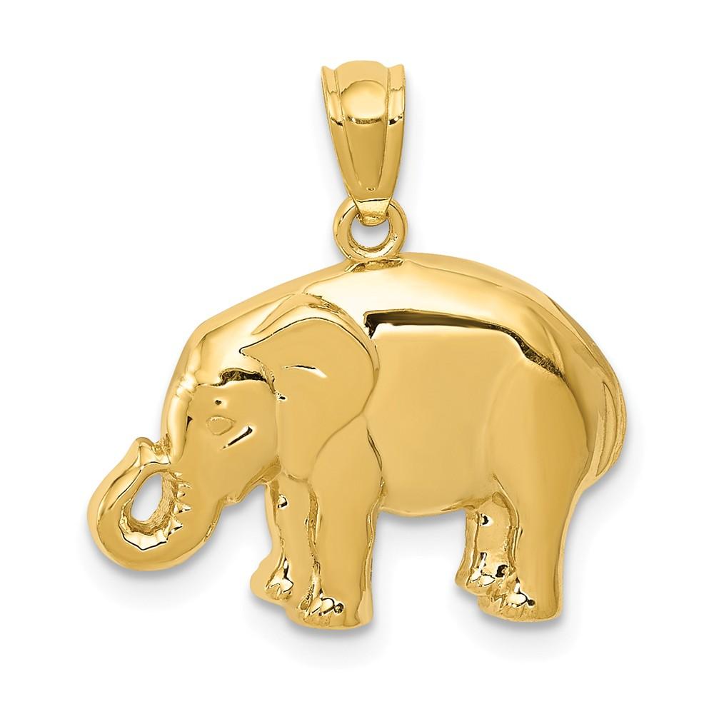 14k Yellow Gold Polished Elephant Pendant