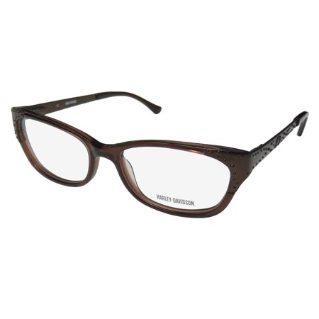 New Harley-Davidson Hd 510 Womens/Ladies Cat Eye Full-Rim Brown Beautiful Hot Cat Eye Frame Demo Lenses 51-16-135 Flexible Hinges Eyeglasses/Eyeglass Frame - Eyeglasses Brown Metallic Frame
