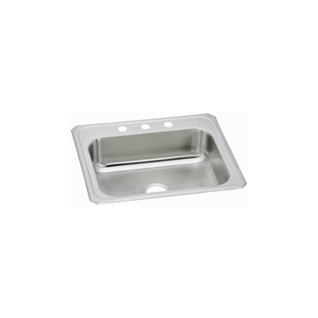 Elkay CR31222 Gourmet Celebrity Stainless Steel Single Bowl Top Mount Sink with 2 Faucet Holes