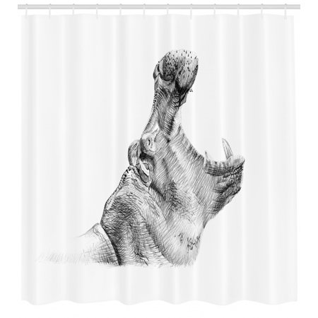 Shower Pencils - Hippo Shower Curtain, Hand-Drawn Pencil Sketch Style Digital Image Hippopotamus Portrait Yawn Figure, Fabric Bathroom Set with Hooks, 69W X 84L Inches Extra Long, Black and White, by Ambesonne