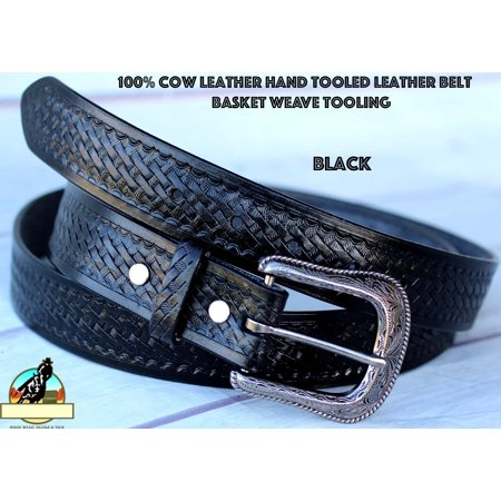 BLACK HANDMADE BASKET WEAVE TOOL WESTERN LEATHER MENS BELT 2609RS02BK1