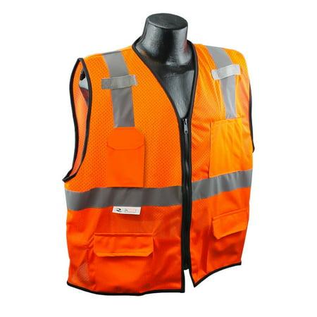 SV7E-2ZOM-2X/3X Class 2 Surveyor Safety Vest, Hi-Viz Orange, XX-Large/3X-Large, Materials: 100% polyester mesh front, 100% polyester mesh back By Radians (100 Dollar Bill Front And Back)