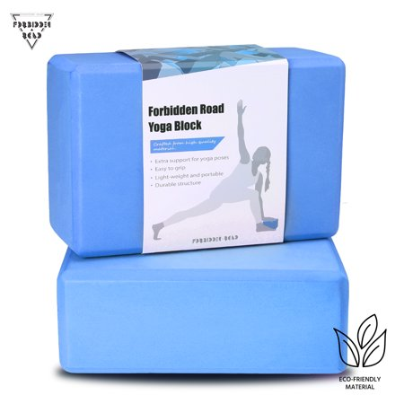 Forbidden Road Yoga Block 2 Pack EVA Yoga Exercise Blocks Bricks Set Natural Eco Friendly Sturdy Support Muscle Stretch Deepen Poses for Fitness Gym (Blue) ()