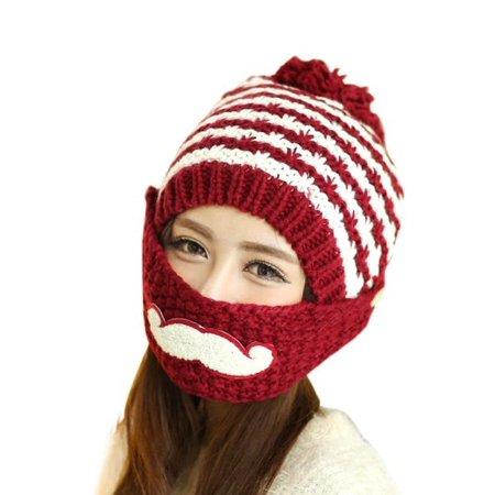PaZinger - PaZinger Women s Pompom Cap Women Winter Knitted Crochet Beanie  Hat Beard Face Mask Set Snow Ski Hat - Walmart.com e07fbaf6c