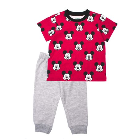eade51563d96 Mickey Mouse - Short Sleeve Mickey Mouse Tee and French Terry Jogger,  2-Piece Outfit Set (Little Boys) - Walmart.com