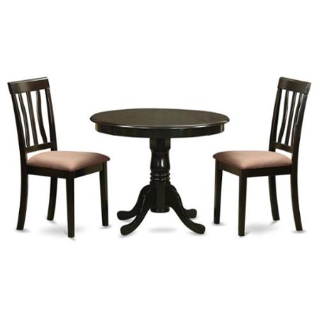 Cappuccino Round Table Plus 2 Kitchen Chairs 3-piece Dining Set Microfiber