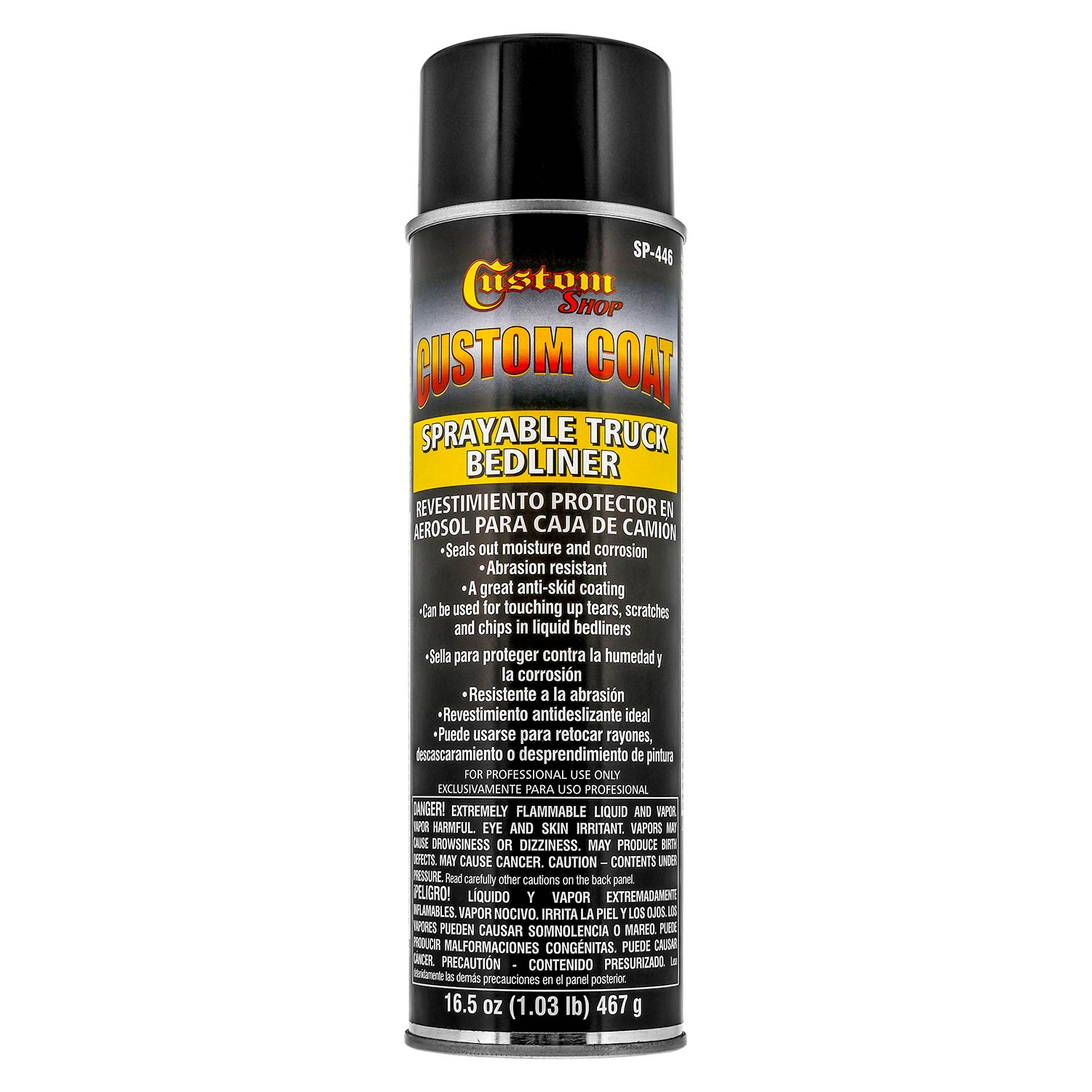 Custom Coat Sprayable Truck Bedliner 16.5 ounce Spray Can - Black