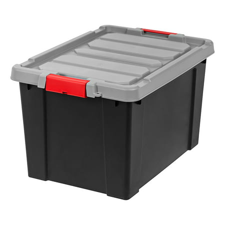 IRIS Store-It-All Tote 19 Gallon, 4 Pack, Black with Red Buckles - Walmart.com