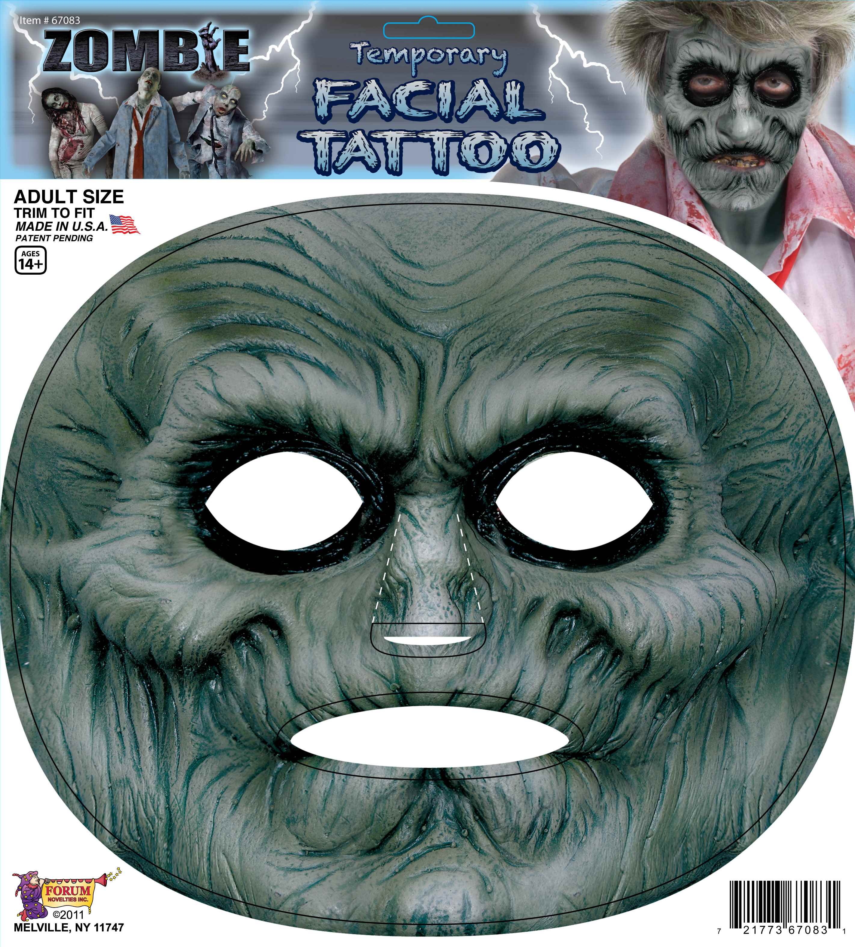 Zombie Temporary Facial Tattoo Costume Accessory