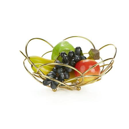 Mind Reader Fruit Bowl Modern Stainless Steel Fruit and Vegetable Basket Bowl, Fruit Display, Decorative Fruit Bowl, Fruit & Vegetables Storage Basket, Kitchen, Countertop - Gold