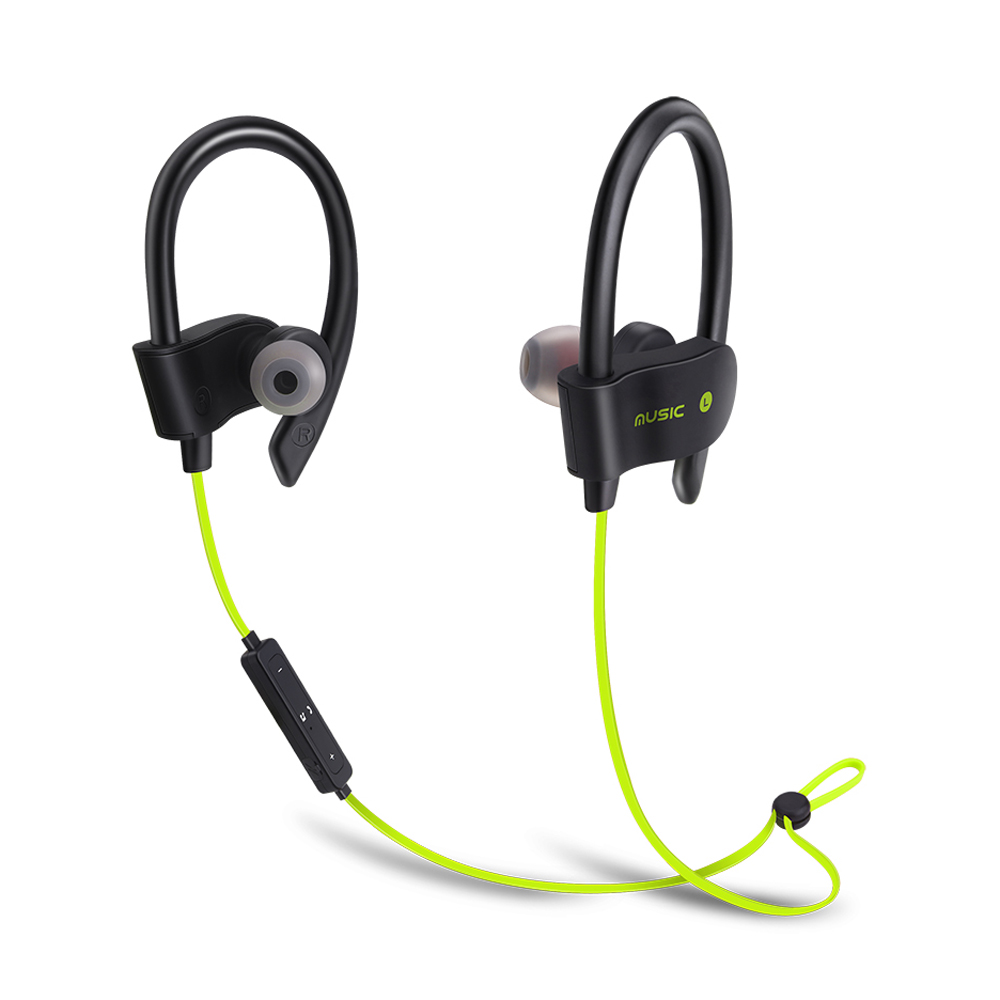 Sports Wireless Ear Hook Style In-Ear Earphones Sweatproof Stereo Earbuds Headset with Mic for Smartphone - Green