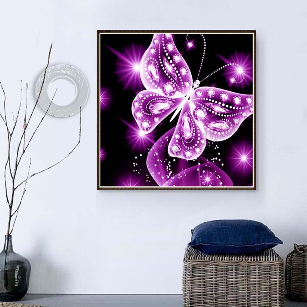 5D Pink Butterfly Rhinestone Diamond Painting Cross Stitch DIY Crystal Animal Art Needlework Home Office Embroidery
