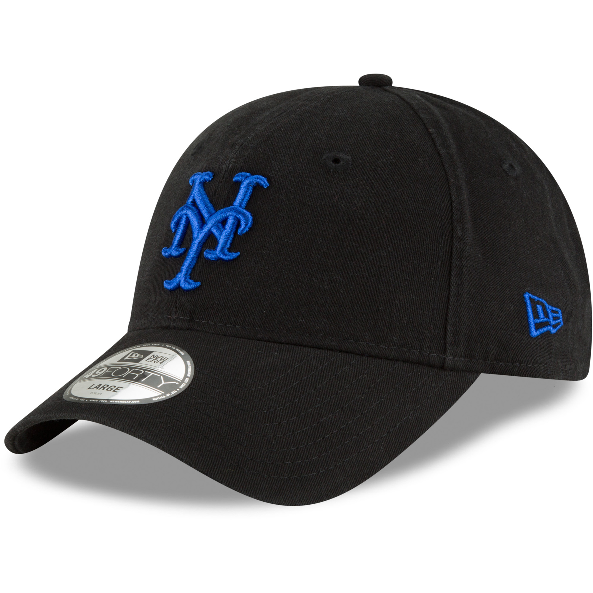 New York Mets New Era Batting Practice Core Fit Replica 49FORTY Fitted Hat - Black