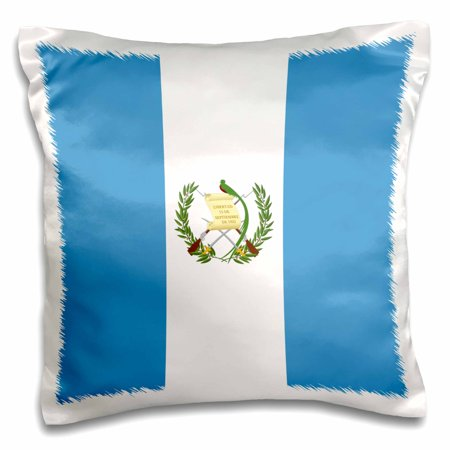 3dRose Flag of Guatemala - sky blue and white with Guatemalan coat of arms - Resplendent Quetzal bird, Pillow Case, 16 by 16-inch