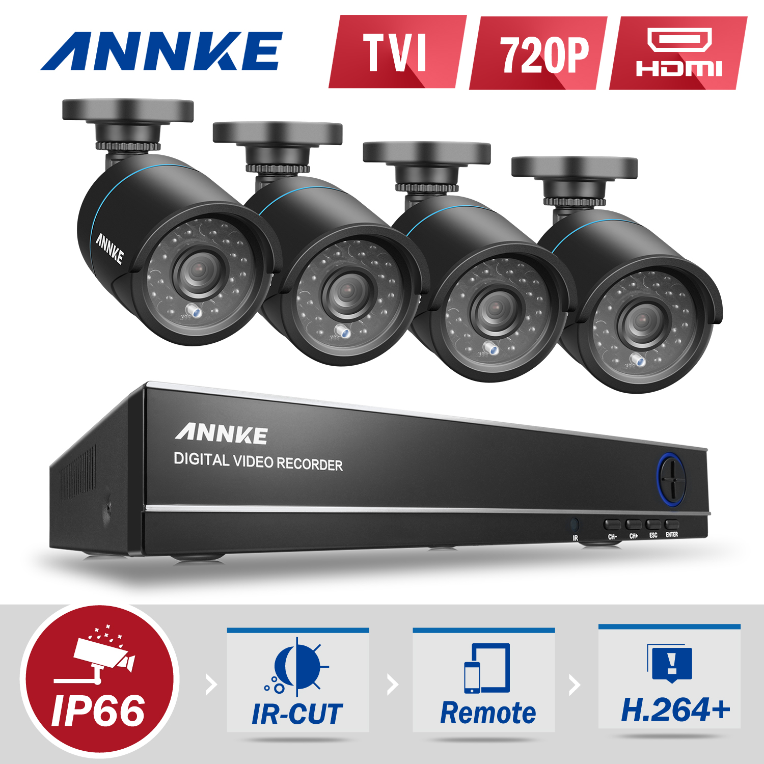SANNCE 8CH 960H HD DVR 4pcs 720P IR outdoor CCTV Home Security System Cameras Surveillance Video kits with motion detection(0-NO HDD,1-1TB HDD)