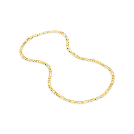 18k Gold Over Sterling Silver Figaro 100 Gauge Chain Necklace 30 Inches
