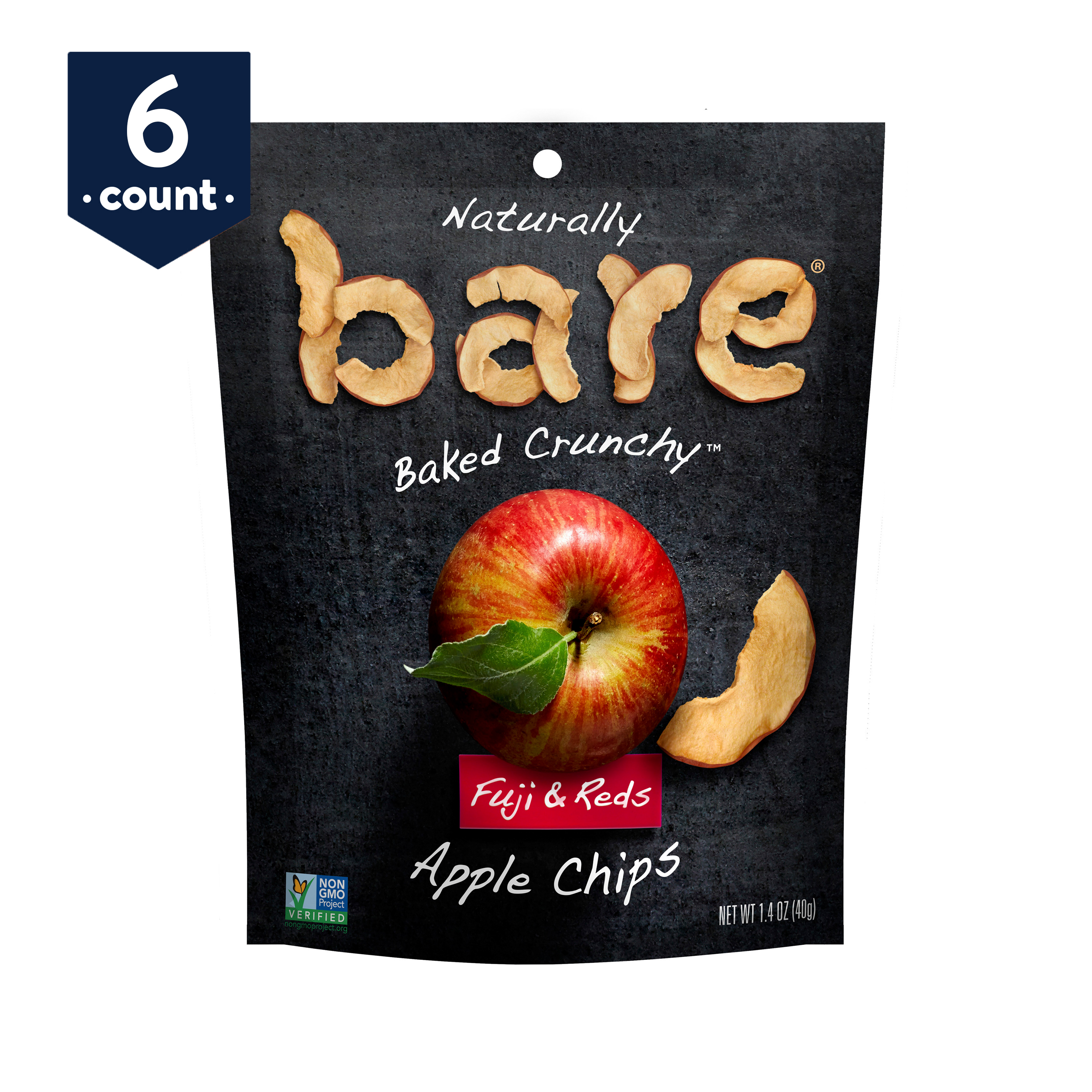 bare Baked Crunchy Apple Chips, Fuji & Reds, 1.4 oz Bags, 6 Count