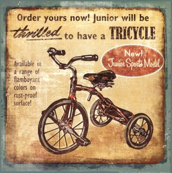 Tricycle Poster Print by Mollie B (12 x 12)