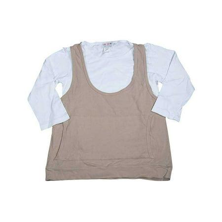 U Go Girl - Big Girls Cotton Long Sleeve Layered Top Beige/White / 10/12