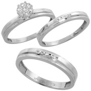 10k white gold diamond trio engagement wedding ring set for him 4mm and her 3 mm - Wedding Ring Set For Her