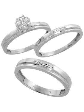 10k White Gold Diamond Trio Engagement Wedding Ring Set For Him 4mm And Her 3 Mm