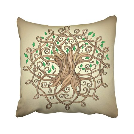 ARTJIA White Knot Amazing Tree Of Life In The Celtic Pattern With Leaves Roots Culture Ancient Pillowcase Throw Pillow Cover 18x18 inches